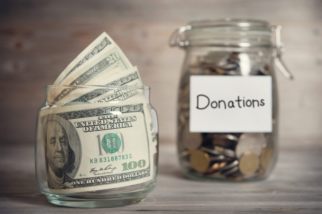 Glass Jar With Donations
